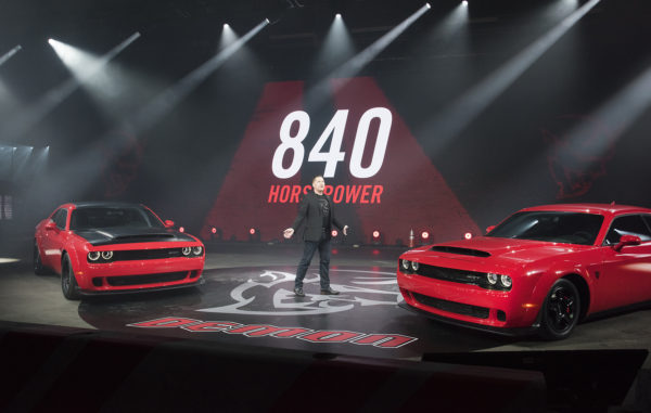With 840 horsepower and 770 pounds-feet of torque from its supercharged 6.2-liter HEMI® Demon V-8 engine, the new 2018 Dodge Challenger SRT Demon is the most-powerful muscle car ever and the highest horsepower V-8 production car engine ever produced. Tim Kuniskis, Head of Passenger Cars --- Dodge, SRT, Chrysler and FIAT, FCA North America, unveiled the car at a star-studded event in New York on Tuesday, April 11. The Dodge Challenger SRT Demon is the first-ever production car to do a front-wheel lift as certified by Guinness World Records.