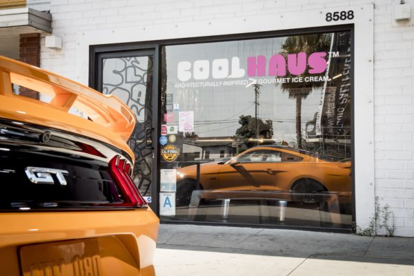 2018 Ford Mustang with Coolhaus Orange Fury ice cream sandwich. Coolhaus, Culver City, CA. Photo: James Lipman / jameslipman.com